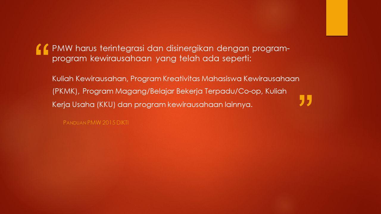 PMW harus terintegrasi dan disinergikan dengan program-program kewirausahaan yang telah ada seperti: Kuliah Kewirausahan, Program Kreativitas Mahasiswa Kewirausahaan (PKMK), Program Magang/Belajar Bekerja Terpadu/Co-op, Kuliah Kerja Usaha (KKU) dan program kewirausahaan lainnya.