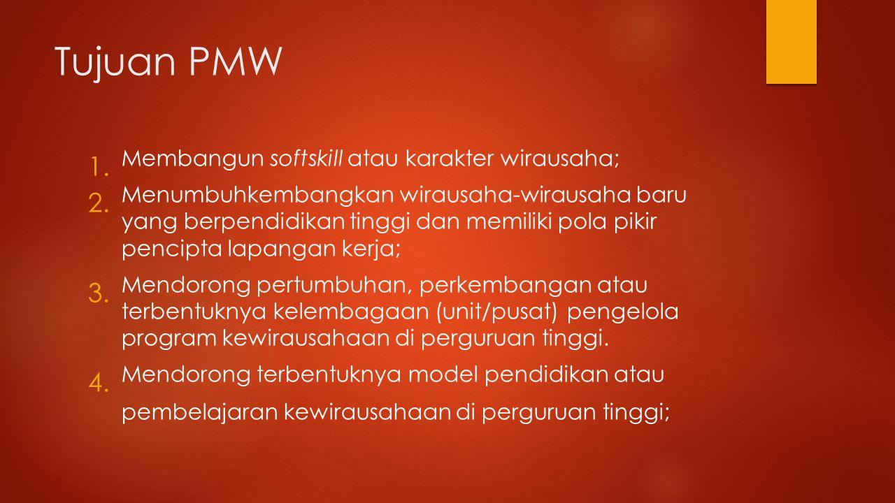 Tujuan PMW Membangun softskill atau karakter wirausaha;