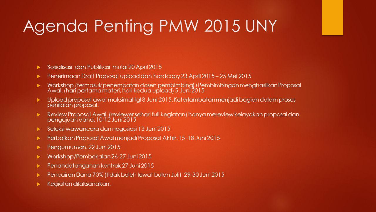 Agenda Penting PMW 2015 UNY Sosialisasi dan Publikasi mulai 20 April 2015.