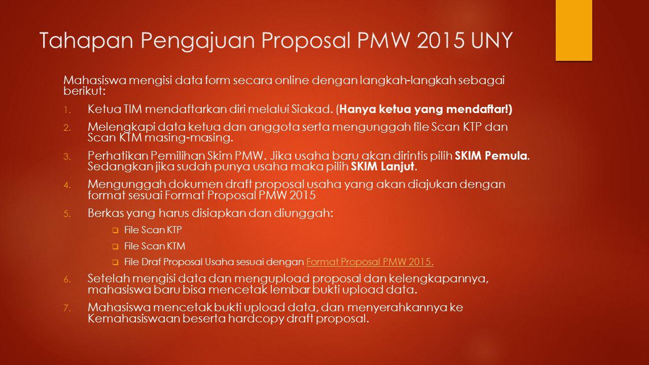 Tahapan Pengajuan Proposal PMW 2015 UNY