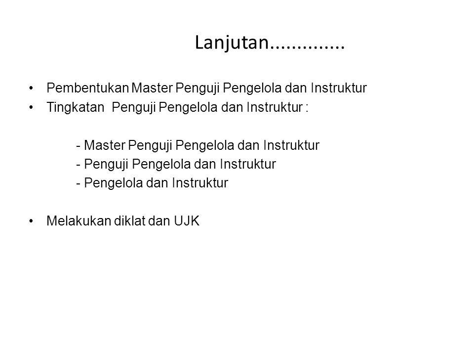 Lanjutan.............. Pembentukan Master Penguji Pengelola dan Instruktur. Tingkatan Penguji Pengelola dan Instruktur :