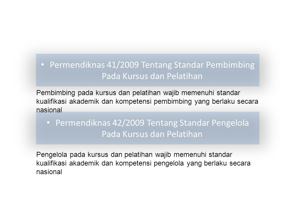Permendiknas 41/2009 Tentang Standar Pembimbing Pada Kursus dan Pelatihan