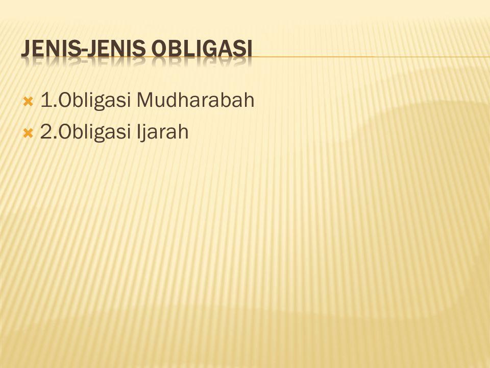 Jenis-jenis Obligasi 1.Obligasi Mudharabah 2.Obligasi Ijarah