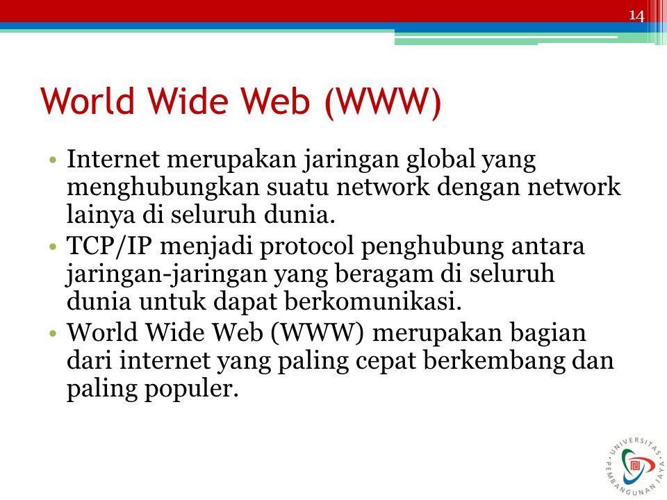 World Wide Web (WWW) Internet merupakan jaringan global yang menghubungkan suatu network dengan network lainya di seluruh dunia.