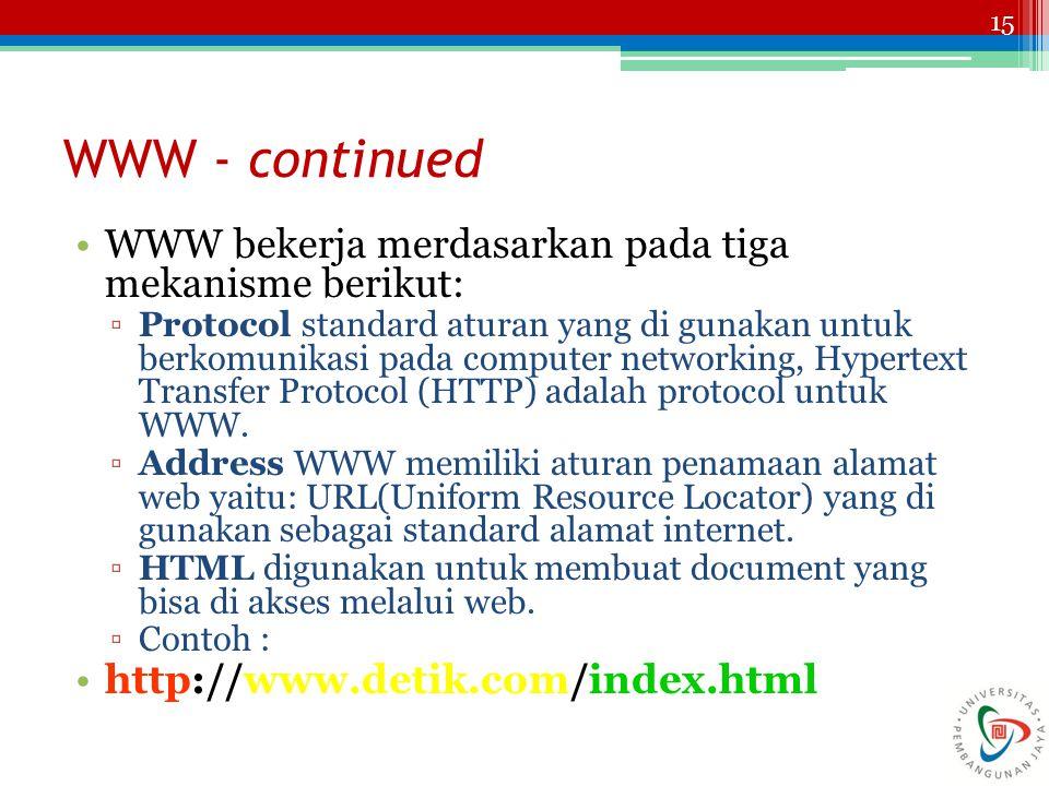 WWW - continued WWW bekerja merdasarkan pada tiga mekanisme berikut: