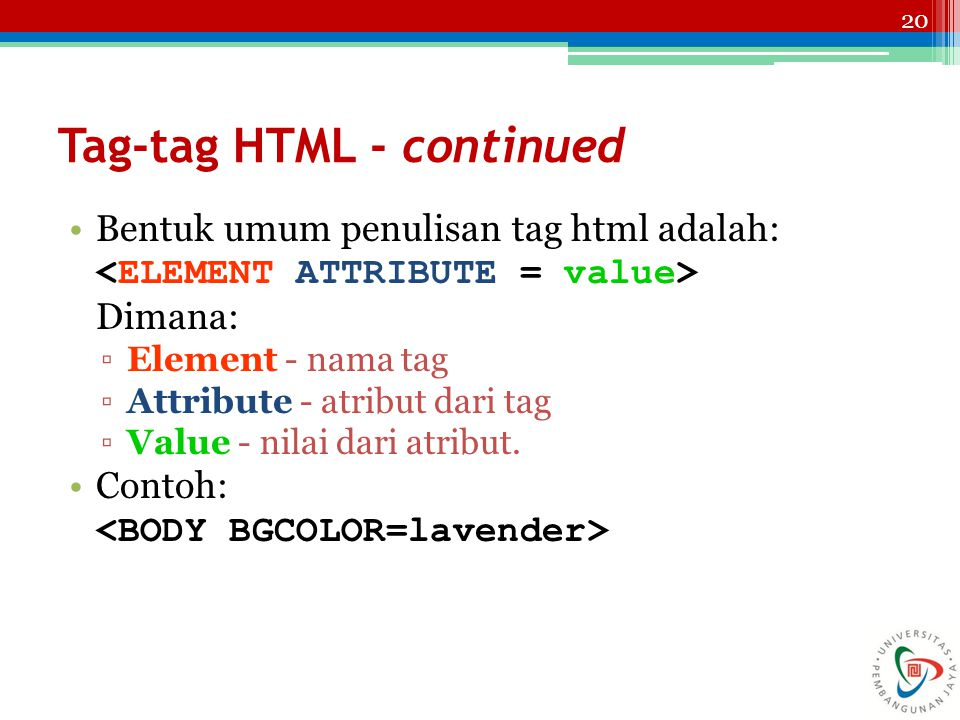 Tag-tag HTML - continued