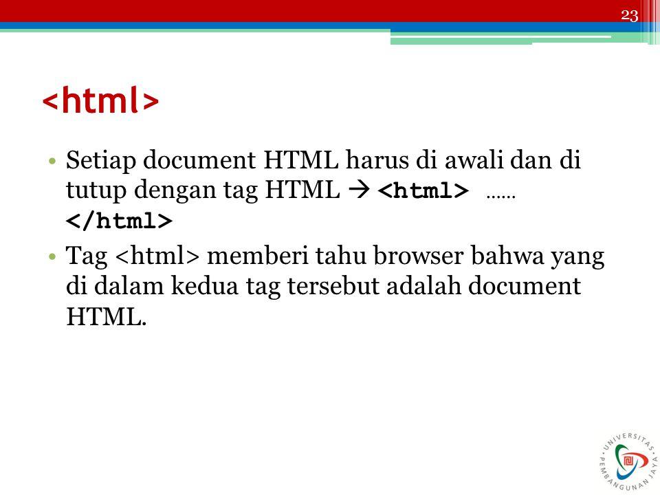 <html> Setiap document HTML harus di awali dan di tutup dengan tag HTML  <html> …… </html>