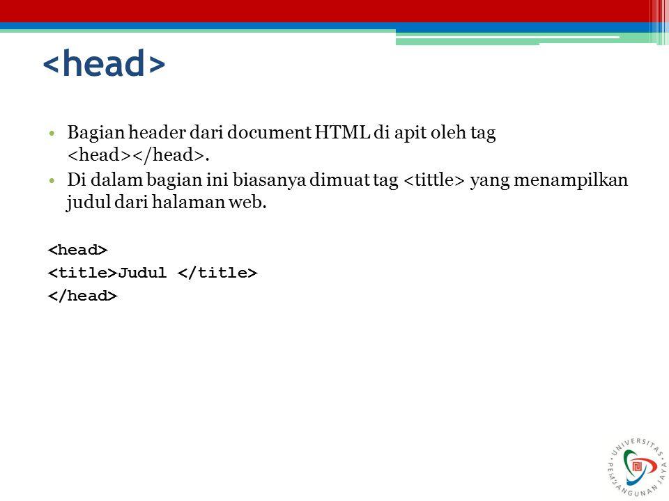 <head> Bagian header dari document HTML di apit oleh tag <head></head>.