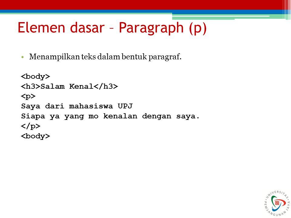 Elemen dasar – Paragraph (p)