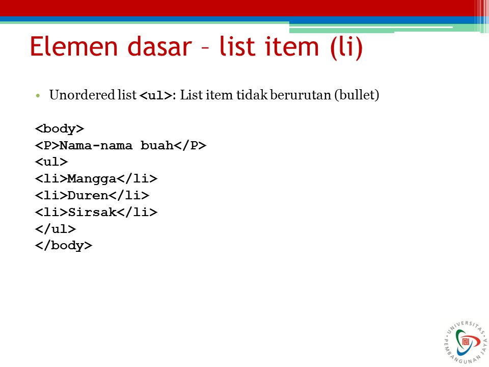 Elemen dasar – list item (li)