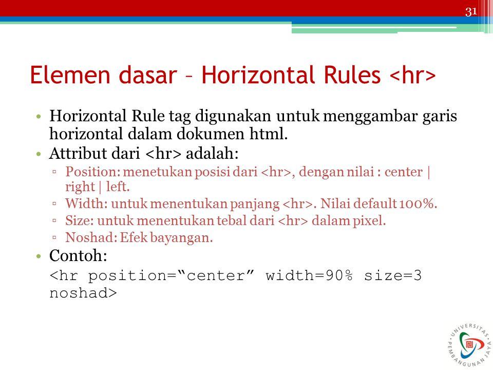 Elemen dasar – Horizontal Rules <hr>