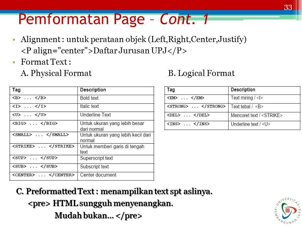 Pemformatan Page – Cont. 1