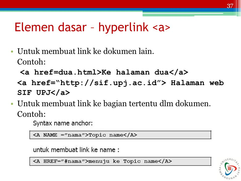 Elemen dasar – hyperlink <a>