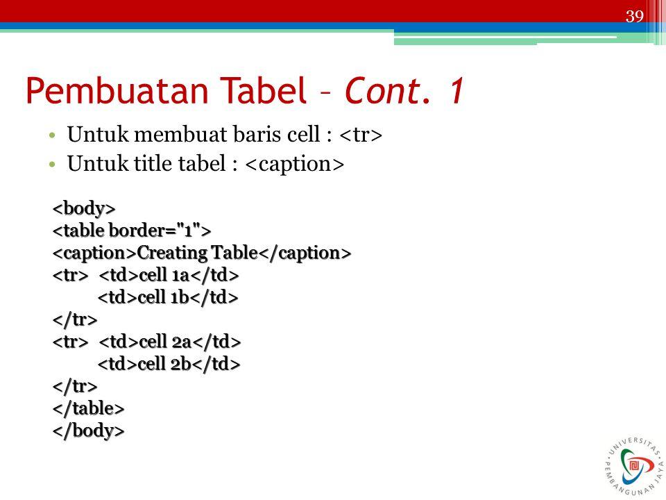 Pembuatan Tabel – Cont. 1 Untuk membuat baris cell : <tr>