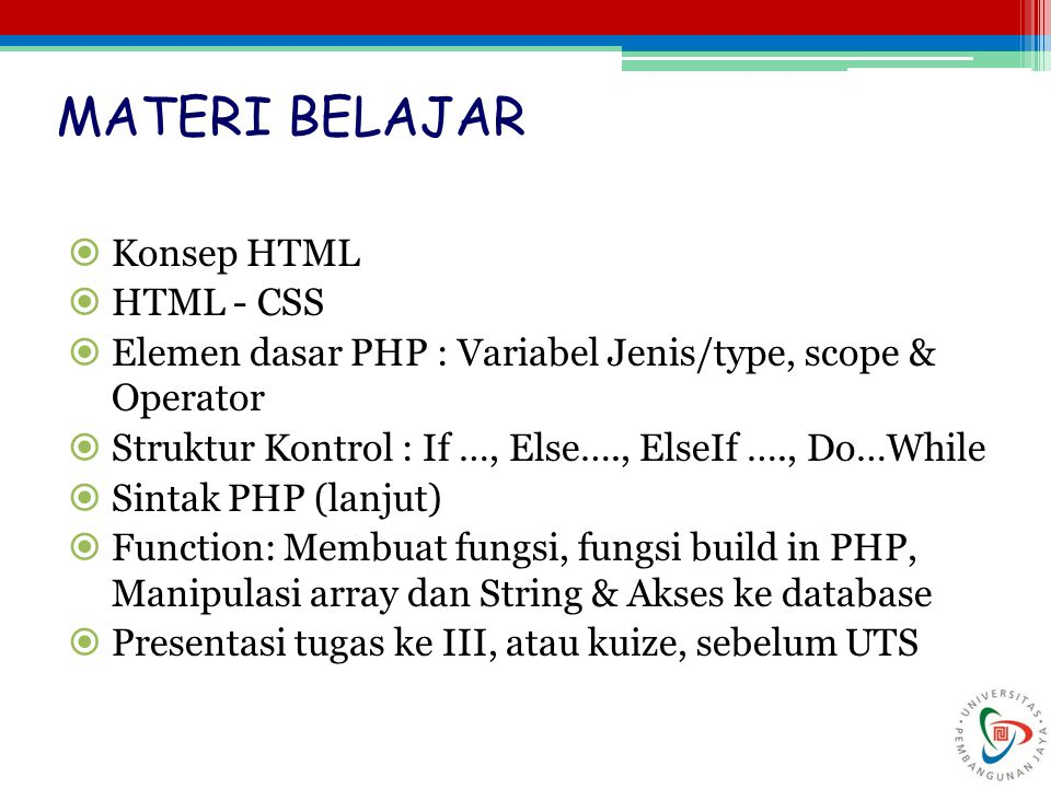 MATERI BELAJAR Konsep HTML HTML - CSS