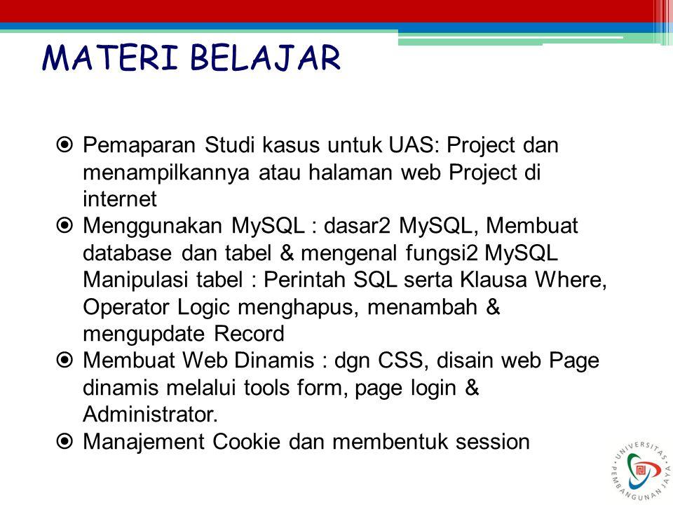 MATERI BELAJAR Pemaparan Studi kasus untuk UAS: Project dan menampilkannya atau halaman web Project di internet.