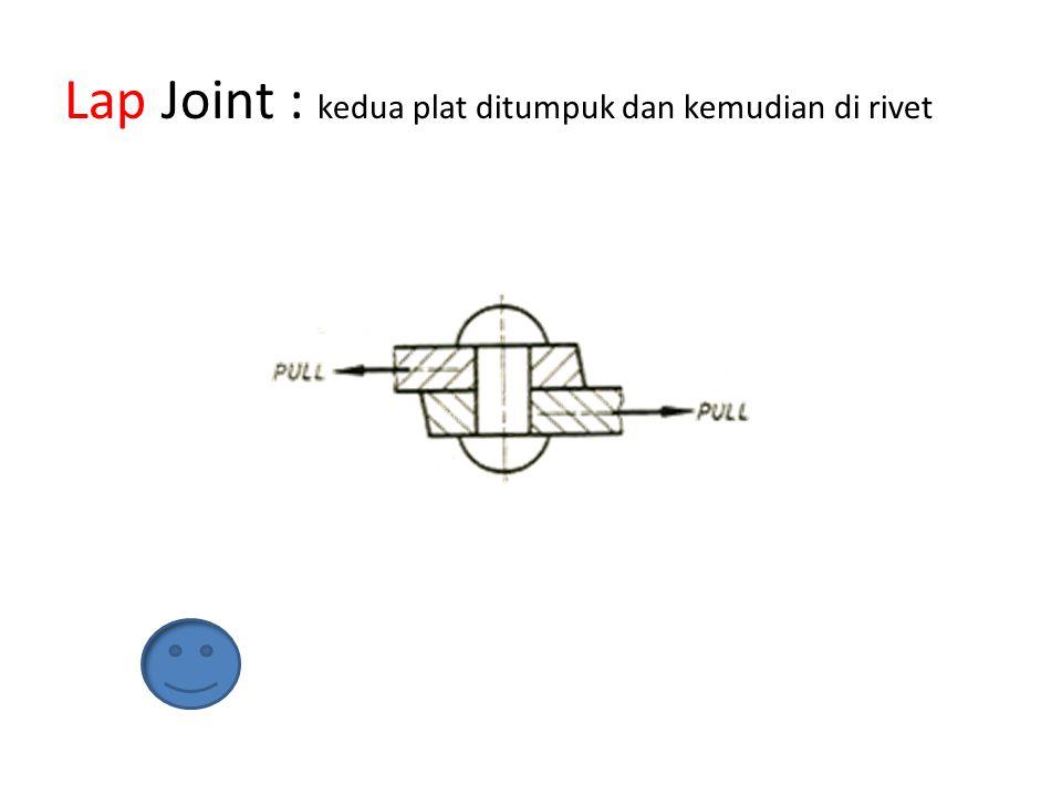 Lap Joint : kedua plat ditumpuk dan kemudian di rivet