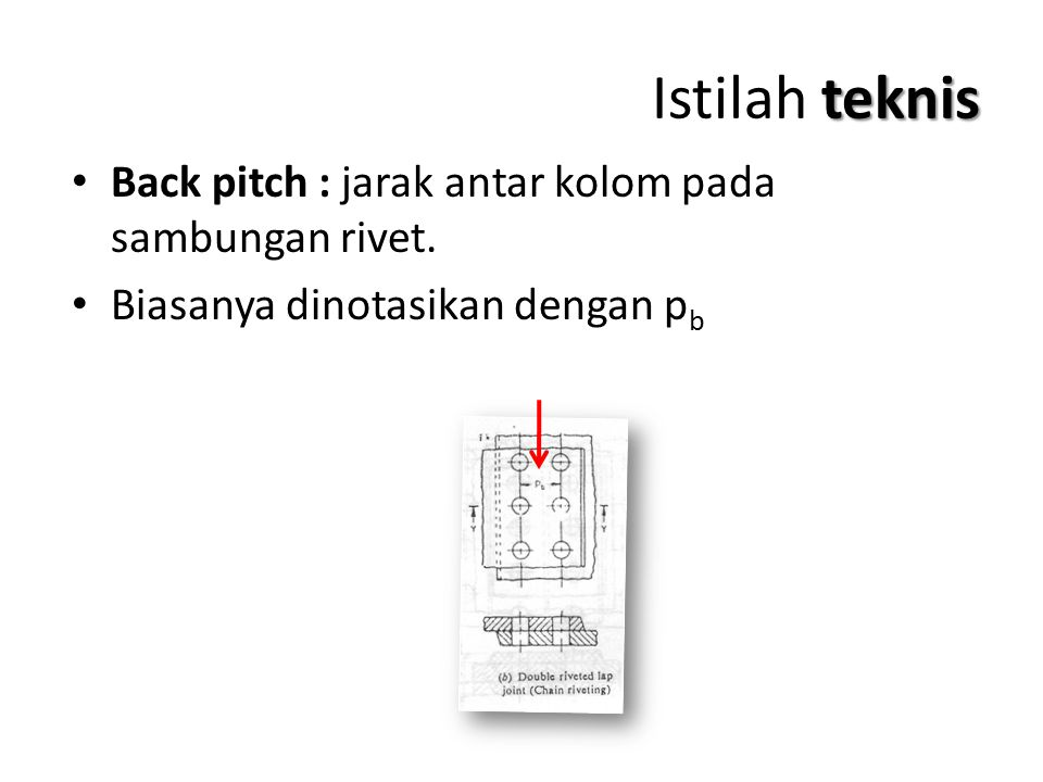 Istilah teknis Back pitch : jarak antar kolom pada sambungan rivet.