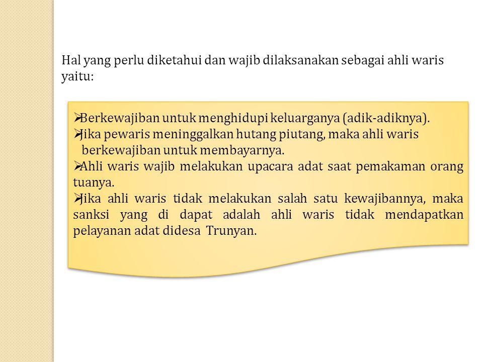 Hal yang perlu diketahui dan wajib dilaksanakan sebagai ahli waris yaitu: