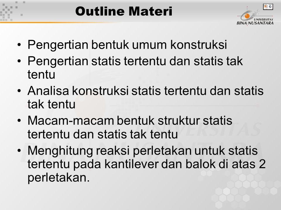 Outline Materi Pengertian bentuk umum konstruksi. Pengertian statis tertentu dan statis tak tentu.