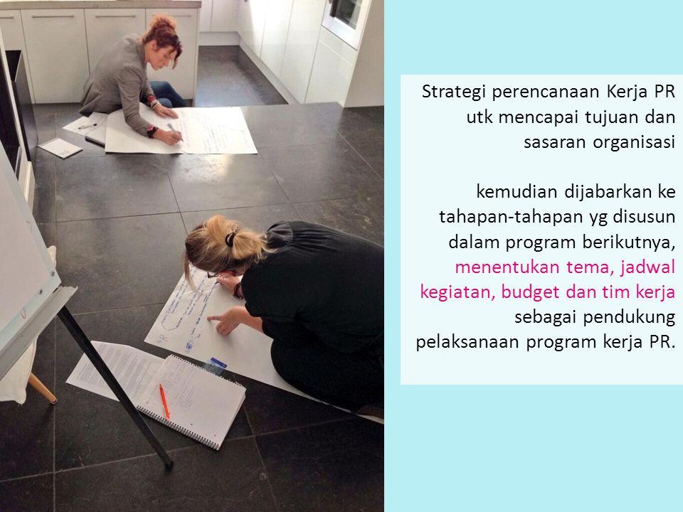 Strategi perencanaan Kerja PR utk mencapai tujuan dan sasaran organisasi