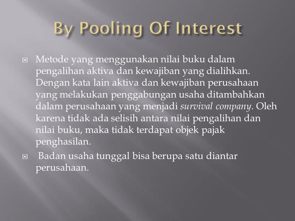 By Pooling Of Interest