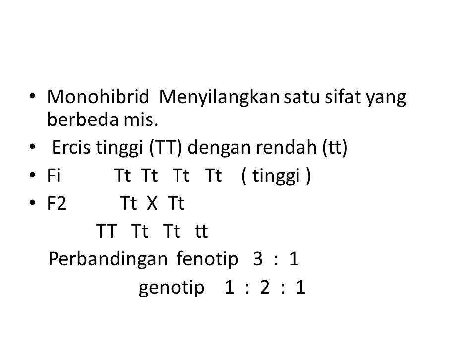 Monohibrid Menyilangkan satu sifat yang berbeda mis.
