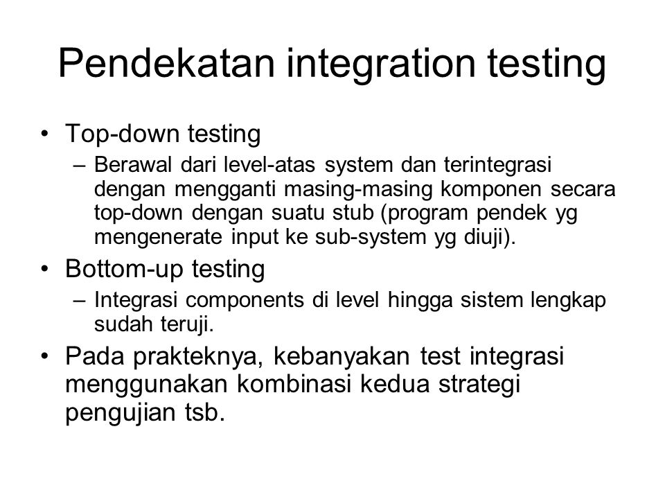 Pendekatan integration testing