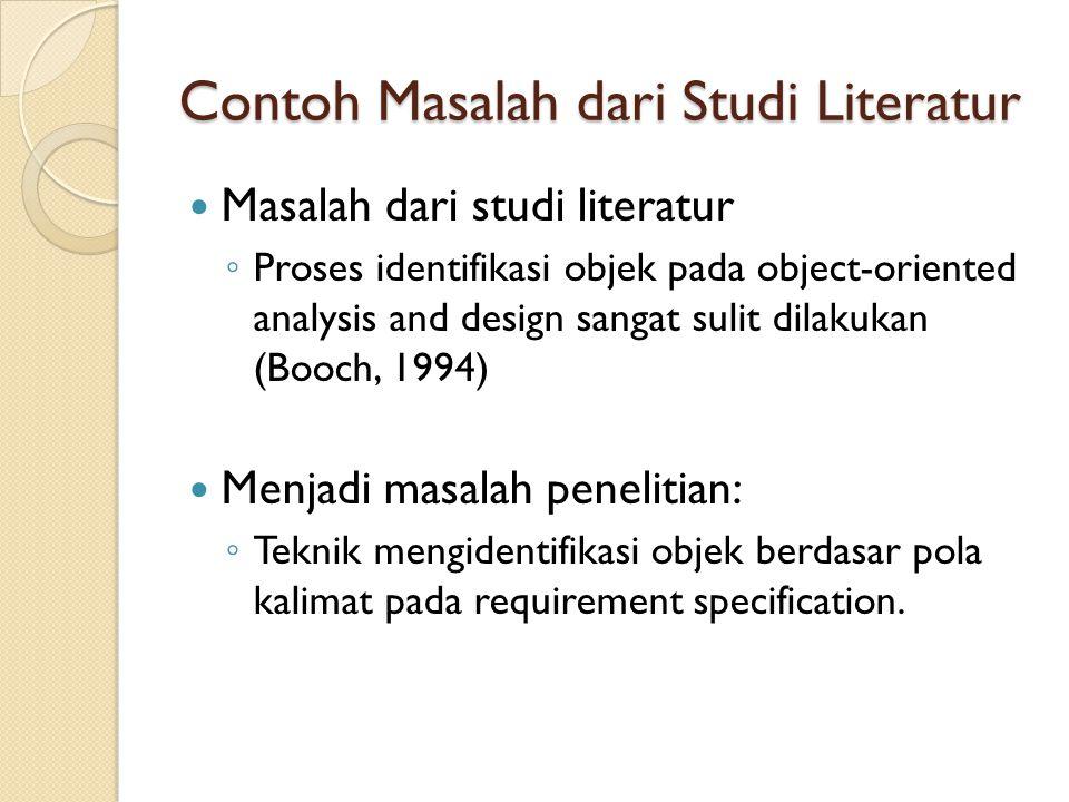 Contoh Masalah dari Studi Literatur