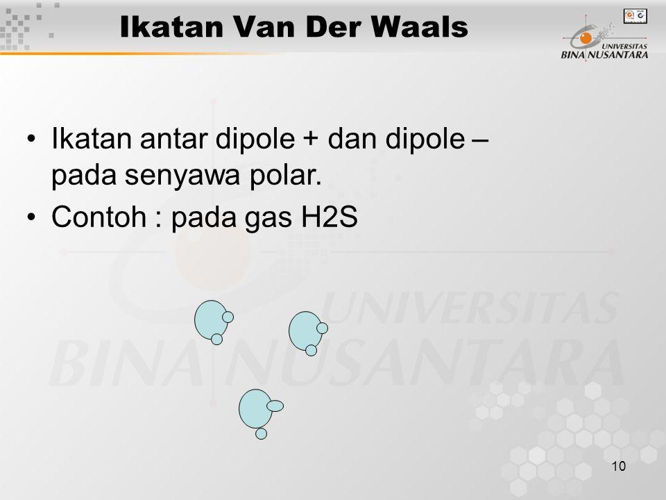 Ikatan Van Der Waals Ikatan antar dipole + dan dipole – pada senyawa polar. Contoh : pada gas H2S