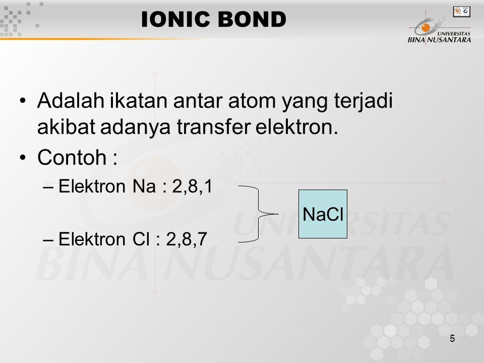 Adalah ikatan antar atom yang terjadi akibat adanya transfer elektron.