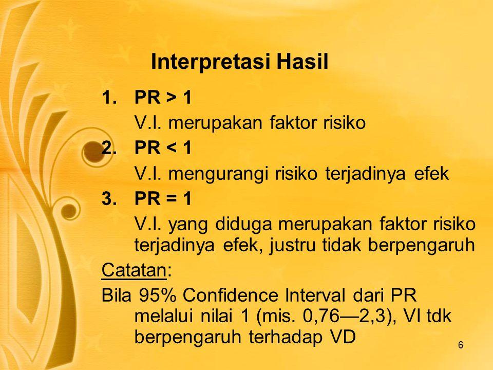 Interpretasi Hasil PR > 1 V.I. merupakan faktor risiko PR < 1