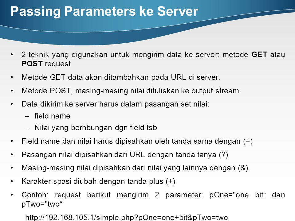 Passing Parameters ke Server