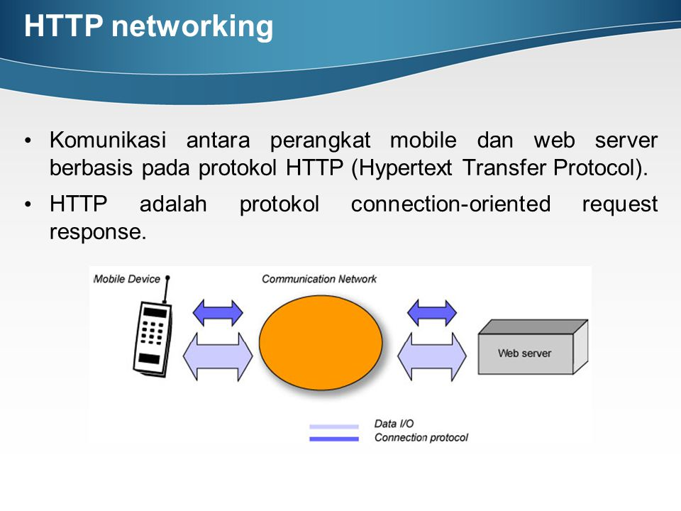 HTTP networking Komunikasi antara perangkat mobile dan web server berbasis pada protokol HTTP (Hypertext Transfer Protocol).