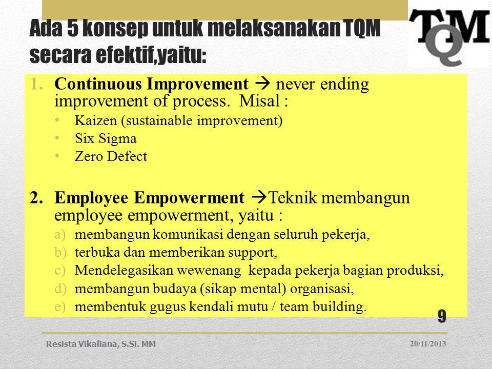 Ada 5 konsep untuk melaksanakan TQM secara efektif,yaitu: