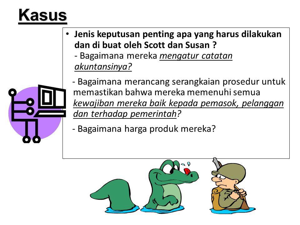 Kasus Jenis keputusan penting apa yang harus dilakukan dan di buat oleh Scott dan Susan - Bagaimana mereka mengatur catatan akuntansinya
