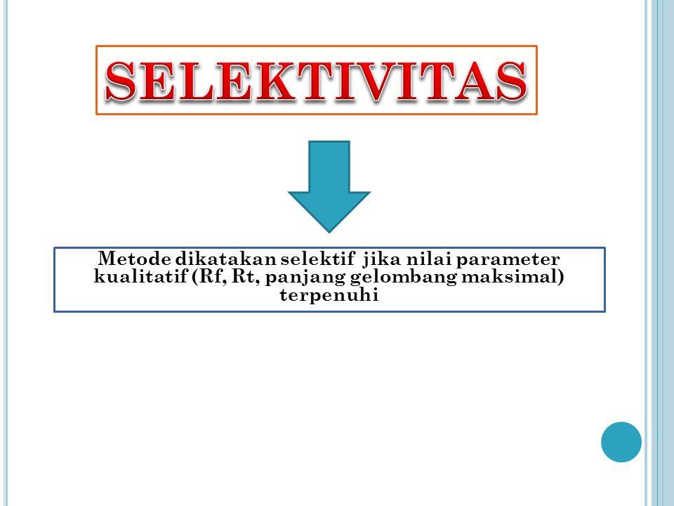 SELEKTIVITAS Metode dikatakan selektif jika nilai parameter kualitatif (Rf, Rt, panjang gelombang maksimal) terpenuhi.