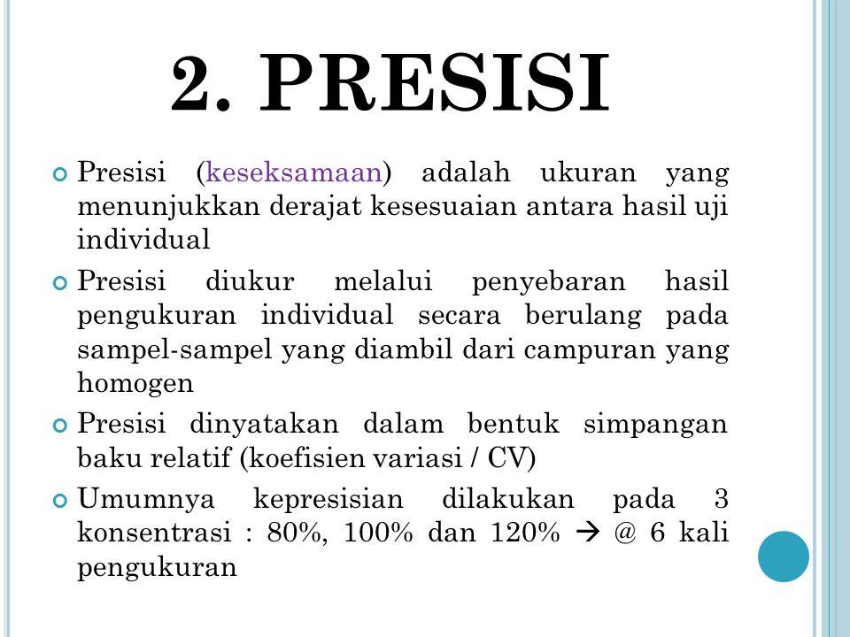 2. PRESISI Presisi (keseksamaan) adalah ukuran yang menunjukkan derajat kesesuaian antara hasil uji individual.