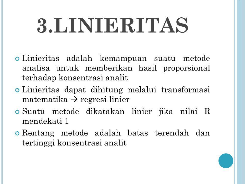 3.LINIERITAS Linieritas adalah kemampuan suatu metode analisa untuk memberikan hasil proporsional terhadap konsentrasi analit.