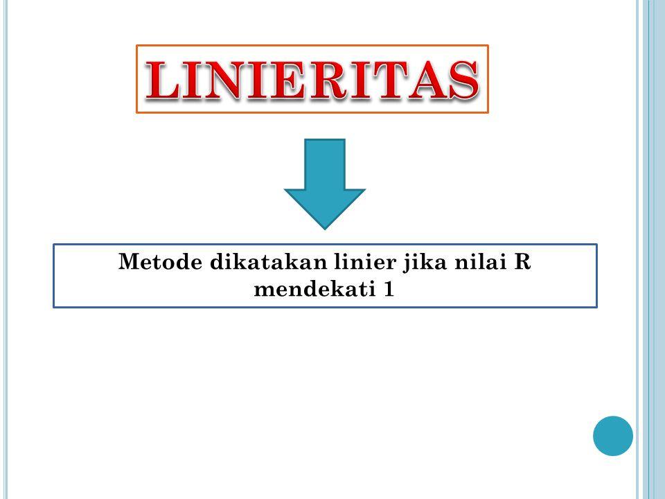 Metode dikatakan linier jika nilai R mendekati 1