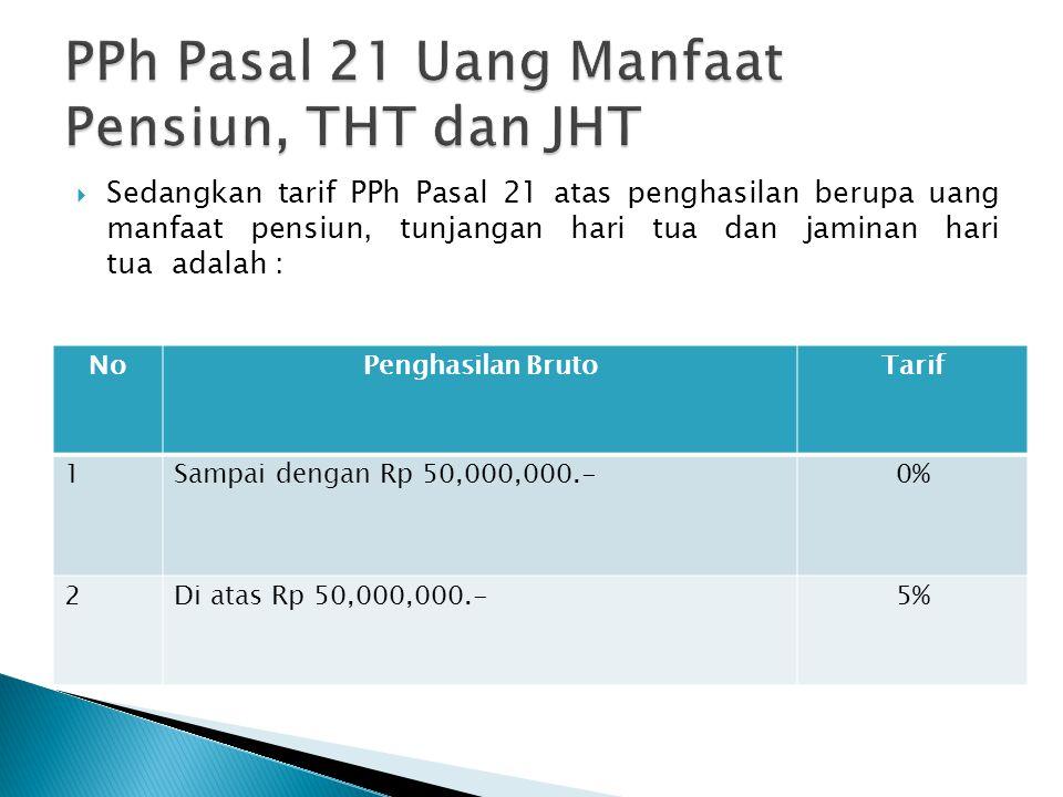 PPh Pasal 21 Uang Manfaat Pensiun, THT dan JHT
