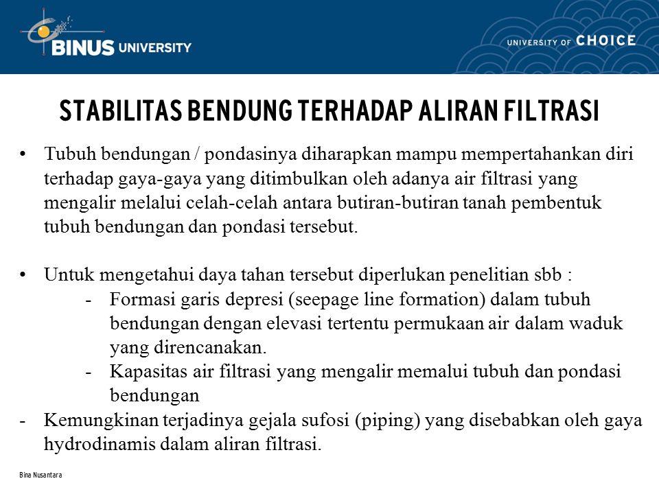 STABILITAS BENDUNG TERHADAP ALIRAN FILTRASI