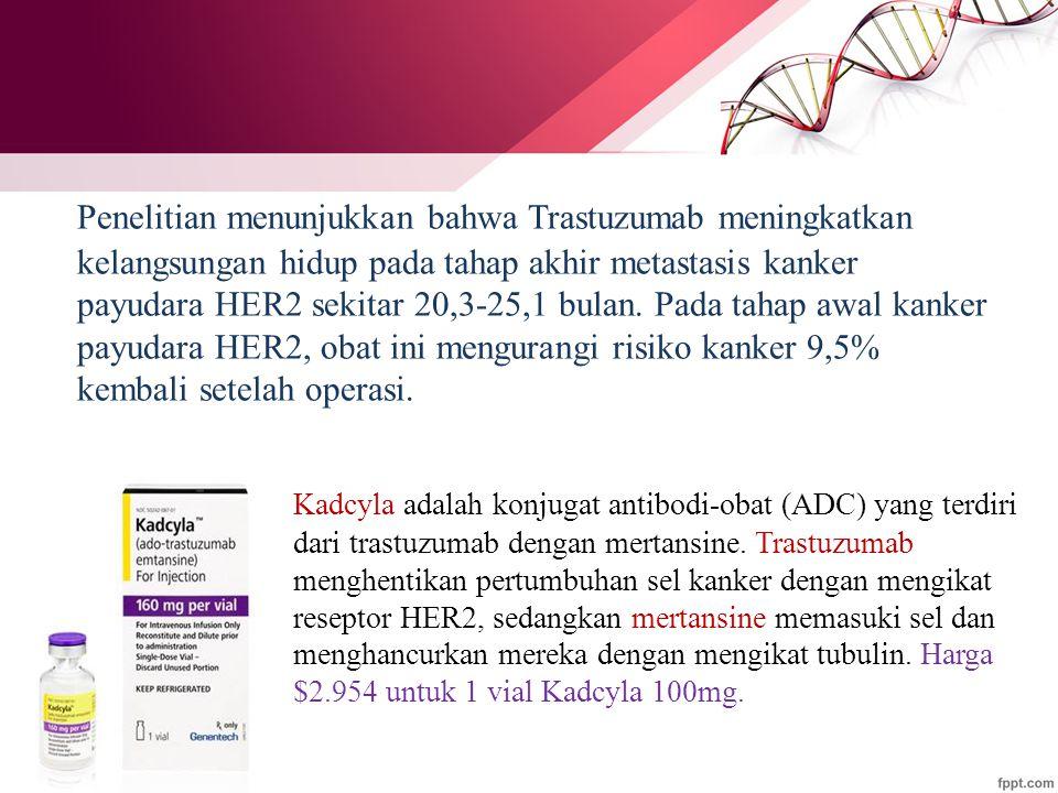 Penelitian menunjukkan bahwa Trastuzumab meningkatkan kelangsungan hidup pada tahap akhir metastasis kanker payudara HER2 sekitar 20,3-25,1 bulan. Pada tahap awal kanker payudara HER2, obat ini mengurangi risiko kanker 9,5% kembali setelah operasi.