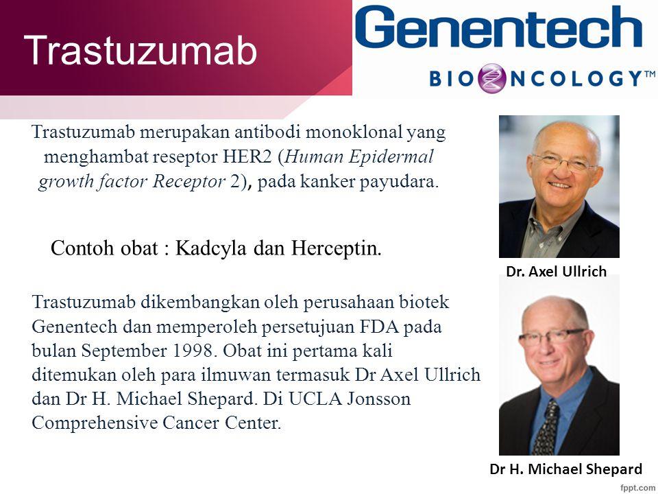 Trastuzumab Contoh obat : Kadcyla dan Herceptin.