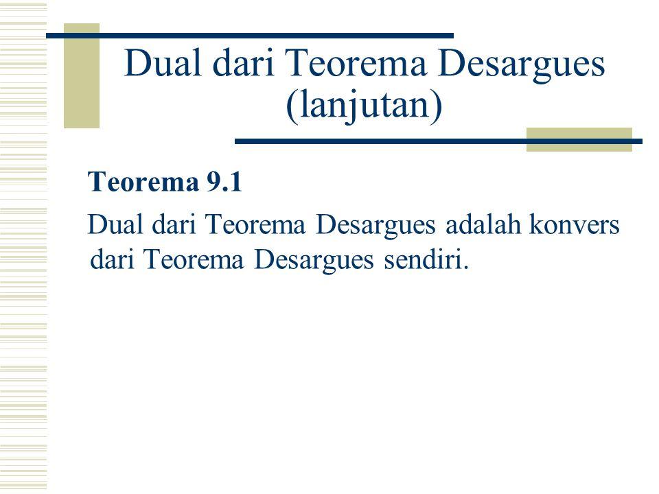 Dual dari Teorema Desargues (lanjutan)