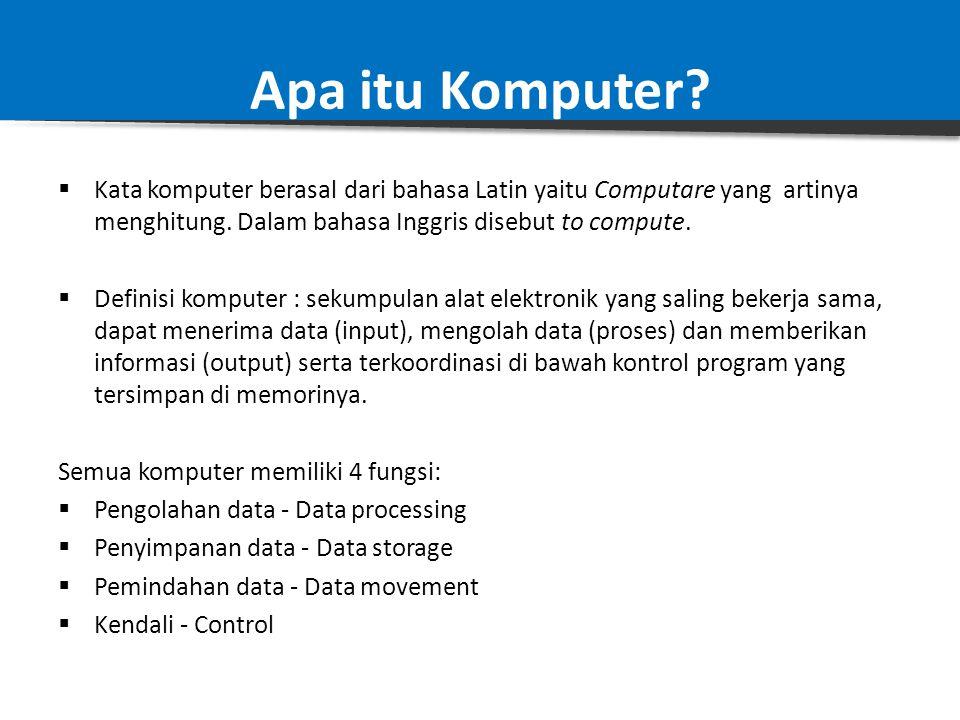 Apa itu Komputer Kata komputer berasal dari bahasa Latin yaitu Computare yang artinya menghitung. Dalam bahasa Inggris disebut to compute.