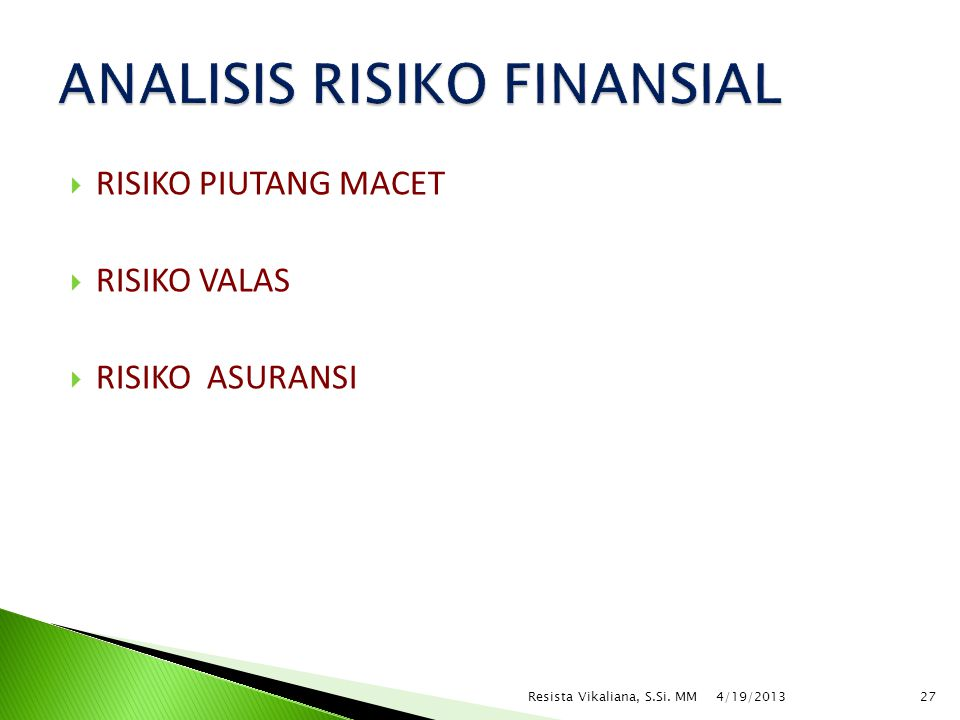ANALISIS RISIKO FINANSIAL