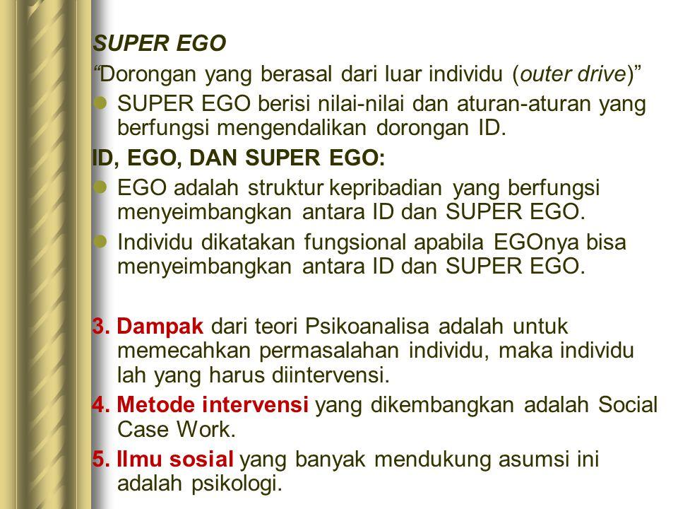 SUPER EGO Dorongan yang berasal dari luar individu (outer drive)
