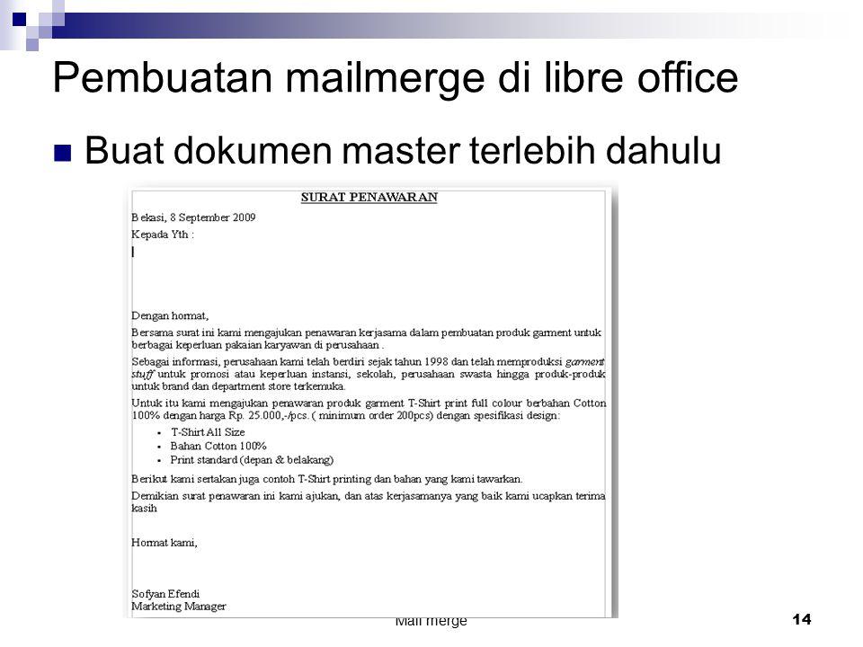 Pembuatan mailmerge di libre office
