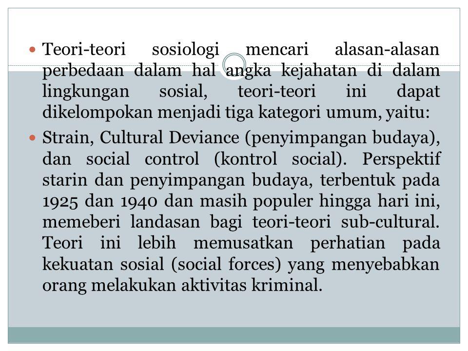 Teori-teori sosiologi mencari alasan-alasan perbedaan dalam hal angka kejahatan di dalam lingkungan sosial, teori-teori ini dapat dikelompokan menjadi tiga kategori umum, yaitu: